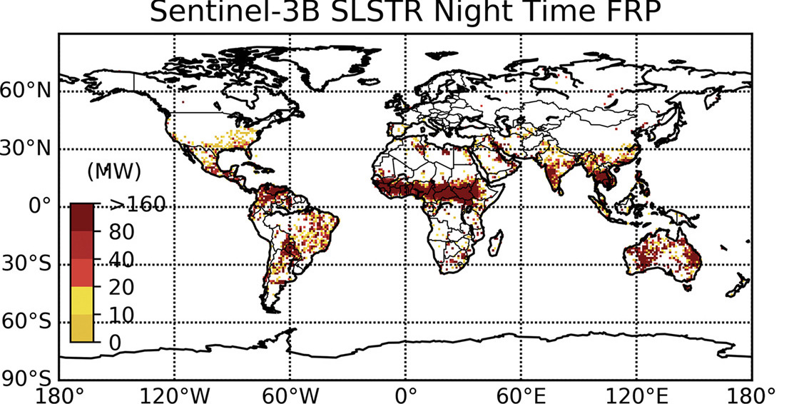 Advances in the global observation of wildfires – using European satellites for real-time mapping the location and radiative strength of landscape burning from space