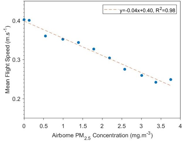 Figure 4 Relationship between mean flight speed and PM2.5 concentration