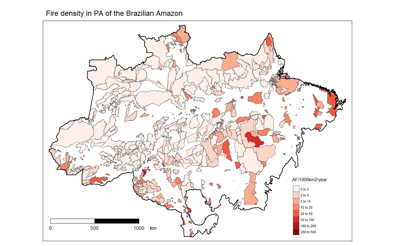 Fire frequency after the establishment of protected areas/indigenous lands in the Brazilian Amazon